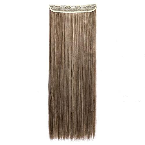 Mistura marrom acinzentado, liso, moderno, 66 cm, meia cabeça inteira, uma peça, 5 clipes de extensões de cabelo com clipe em extensão de cabelo longa reta