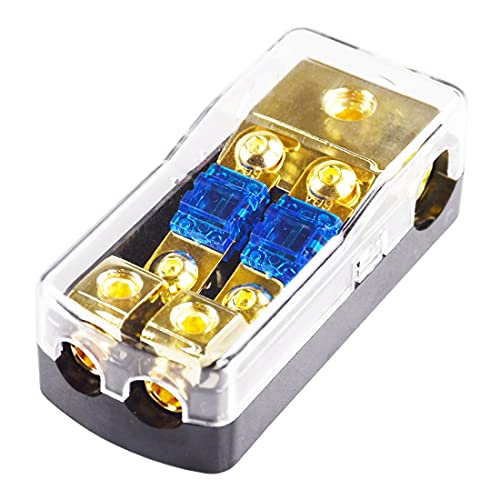 Mini-ANL Fuse Holder HiFi Auto Fuse Distribution Block 60 Amp 12 V Fusible Support 0 2 4 Gauge in 4/8 Gauge Out (2 Way)