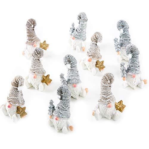Logbuch-Verlag Set 10 kleine Wichtelfiguren 5 weiß Gold + 5 weiß Silber glitzernd 7 cm Wichtelgeschenk Kinder Mini Deko Weihnachten