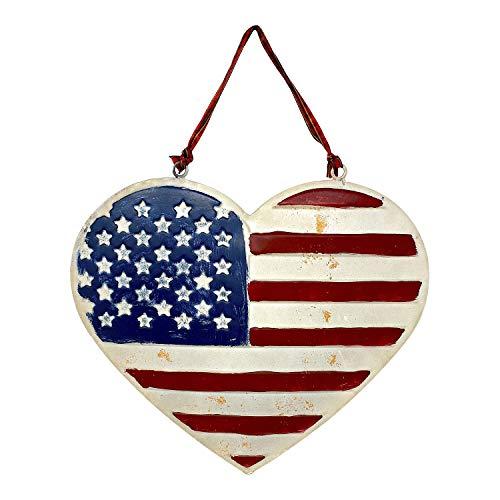 Herzförmige amerikanische Flagge, patriotisches Schild, Metallschild zum Aufhängen, Wandtür, rustikal, für drinnen & draußen, 25,4 x 22,9 cm