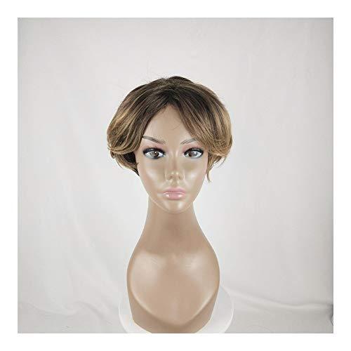 Hui Ni mannen en vrouwen universele korte rechte haar micro-volume chemische vezel pruik hoofddeksels Geel