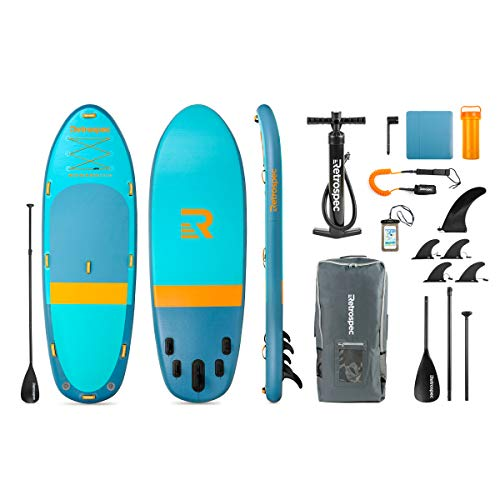 Retrospec Weekender-Crew 12' Extra Wide Inflatable Stand Up Multi Person Paddleboard ArmorStrength PVC iSUP Bundle w/Paddle Board Carrying case, Aluminum Paddle, Removable fins, Pump & Phone case