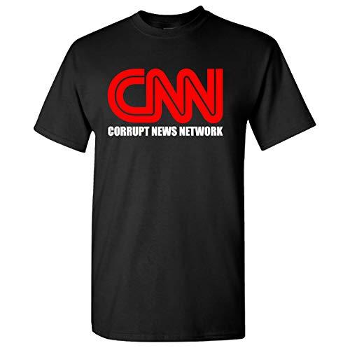 CNN Corrupt News Network on a Black T Shirt - Medium