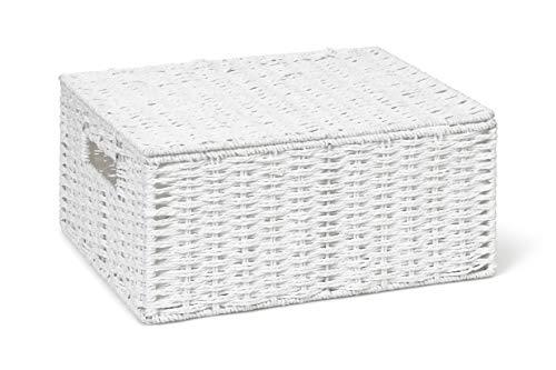 ARPAN Aufbewahrungskorb mit Deckel, aus Papier, groß, Weiß