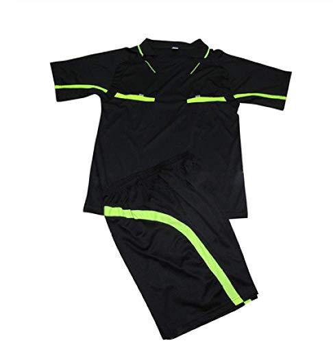 XIAOL Conjunto De Camisetas De Fútbol Transpirable para Hombre Camiseta De Manga Corta Pantalones Cortos Árbitro Camisetas De Jersey De Fútbol Profesional Ropa Deportiva,XL-Black