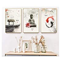 YIUYUEKAI 新しい中国のインク花仏壁アートプリント画像キャンバス絵画ポスターリビングルーム-13x18cmx3フレームなし