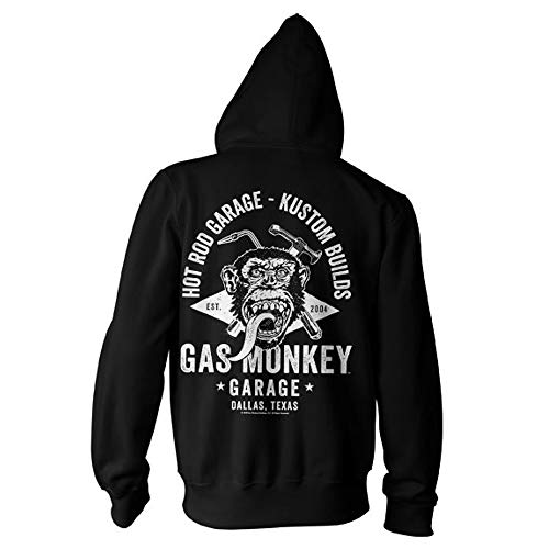 Gas Monkey Garage Officially Licensed Torch & Hammer Big & Tall Zipped Hoodie (Black) 3X-Large