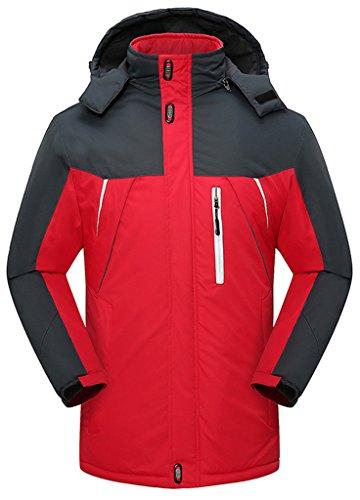 Sawadikaa Anorak Veste de Sport Coupe Vent Imperméable Veste Polaire Veste de Ski Randonnée Manteau Homme Rouge Large