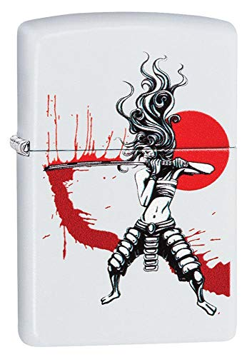 Zippo Samurai Girl White Matte Pocket Lighter