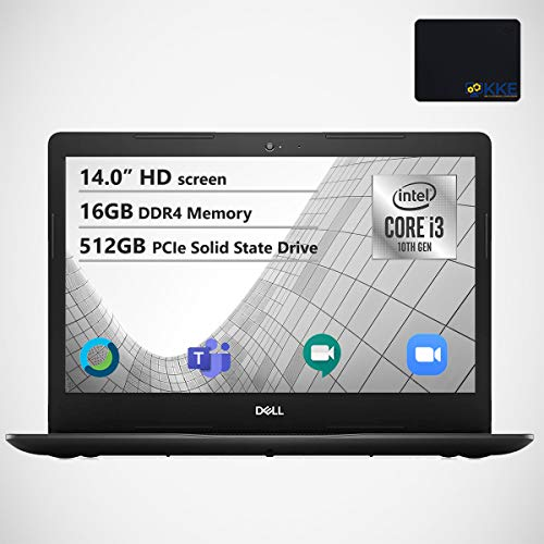 Dell Inspiron 14' HD Laptop, Intel i3 1005G1, 16GB DDR4 Memory, 512GB PCIe Solid State Drive, Online Class Ready, Webcam, WiFi, HDMI, Bluetooth, KKE Mousepad, Win10 Home, Black