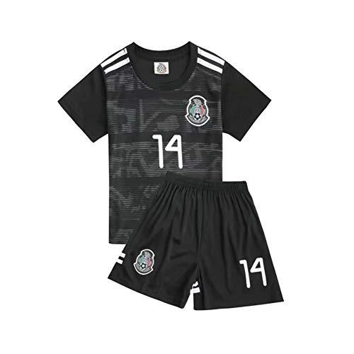 PAOFU-Fußball-Weltmeisterschaft Trikot Set Mexiko-Team Nr. 14 Chicharito Fußball Jerseys für Fans Junge Kinder,Schwarz,8 Years