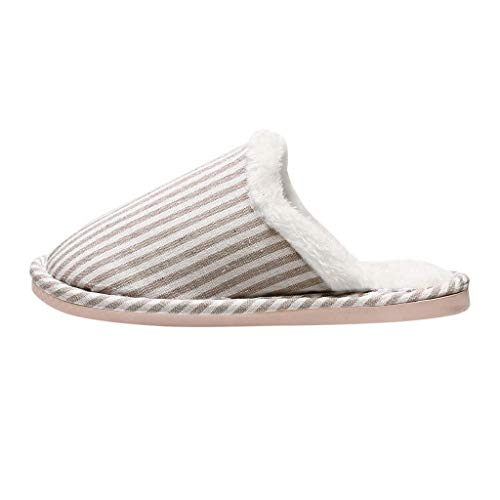 DreamedU Zapatillas de Casa Mujer Invierno de Algodon Zapatillas De AlgodóN De Felpa Caseras CáLidas Antideslizantes A Rayas Estilo Pareja De Damas 200929