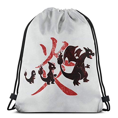 WH-CLA Cinch Bags Poke Fire Charmander Evolution Drawstring Backpacks Favor Bags Drawstring Bag Storage Goodie Bags Cinch Bags Lightweight Durable Party Sport Gym Wrapping Gift Bag Anime