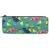 Sac fourre-Tout Animal Oiseau Flamingo Ananas, Sac de Porte-Pinceau de Maquillage de Pinceau de Sac de Stylo de Cas de Crayon pour Le Bureau de Travail d'école, 7.7X7.7X20.5Cm