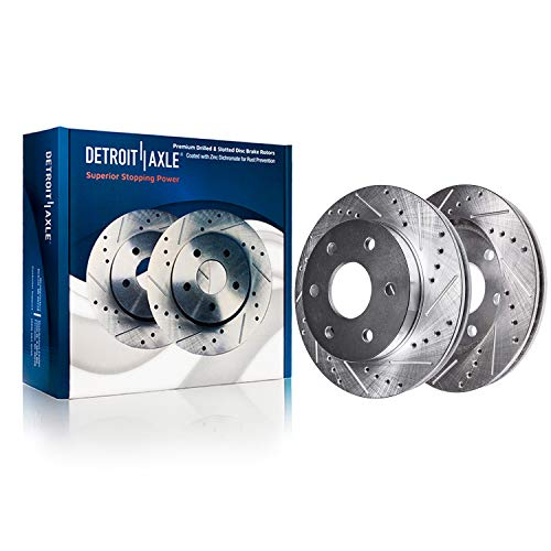 Detroit Axle S-54153 Front Cross Drilled and Slotted Brake Rotor Disc Kit 2-PC Set
