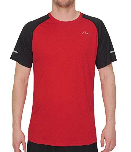 More Mile Tempest Cool T-shirt de course à manches courtes pour homme ultra léger L rouge/noir