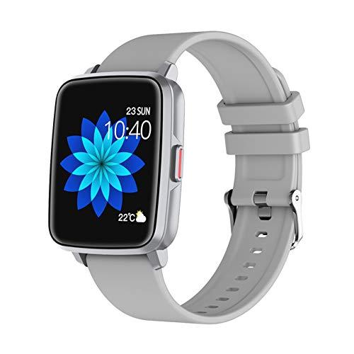 FMSBSC Smartwatch Reloj Medidor De Temperatura Corporal Llamadas Bluetooth Pulsera Actividad Inteligente con 25 Modos Deportivos Monitor De Pulsómetros Sueño Oxigeno Spo2 Presión Arterial,Gris