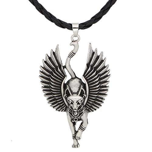 chenpaif Halskette, Silber Alte Ägypten Bastet Statue Katze Anhänger Halskette Ägyptische Sphinx Wicca Heidnische Katze Halskette Amulett Schmuck Unisex