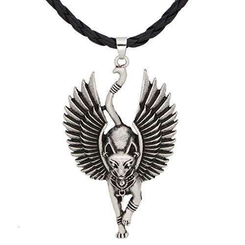 JERKKY Neuheit Halskette, Silber Alte Ägypten Bastet Statue Katze Anhänger Halskette Ägyptische Sphinx Wicca Heidnische Katze Halskette Amulett Schmuck Unisex