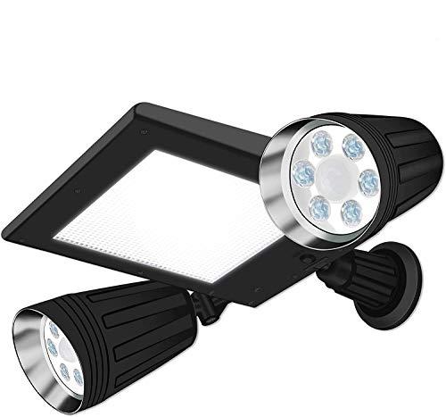 Zonne-lampen buiten, ZHENREN 76 LED wandlampen waterdicht met bewegingssensor Dual Heads Spotlights Verstelbare Beveiliging Nachtlamp voor Tuinwerf
