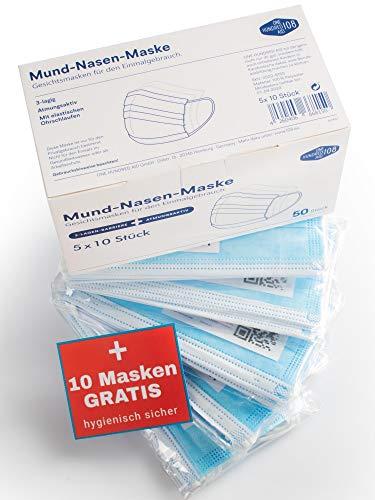 Einmalmasken Mundschutz Labor geprüft - 6O Stück im 1Oer Beutel hygienisch verpackt, geruchsneutral mit Draht-Nasenbügel von One Hundred Aid