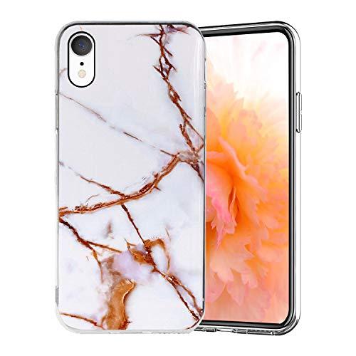 Misstars Coque en Silicone pour iPhone XR Marbre, Ultra Mince TPU Souple Flexible Housse Etui de Protection Anti-Choc Anti-Rayures pour Apple iPhone XR (6,1 Pouces), Blanc Or