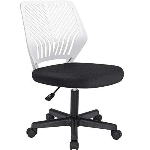 Waleaf Office Ergonomic Mesh Chair, Computer Armless Lumbar Support Desk Chair, Mid Back Swivel Chair with Adjustable Height for Adults and Kids, Home Task Chair Without Armrests for Small Spaces