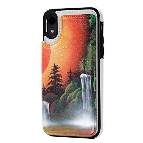 N/A Lederen iPhone XR Portemonneehouder, Kaarthouder Case met Creditcard Slots Waterval Schilderijen, Anti-Scratch Schokbestendig Zachte TPU Bumper Full-Body Beschermende Hoesje Cover voor iPhone XR 6.1 Inch