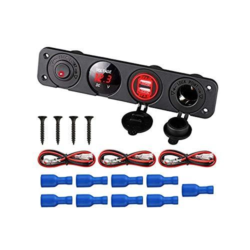 Adaptador 12V-24V 4 en 1 DUAL 4.2A Cargador USB LED VOLTMETER OUTLET OUTLET ON-OFF Toggle Interruptor compatible with la motocicleta del automóvil Barco Marine RV Camión (Color : Red)