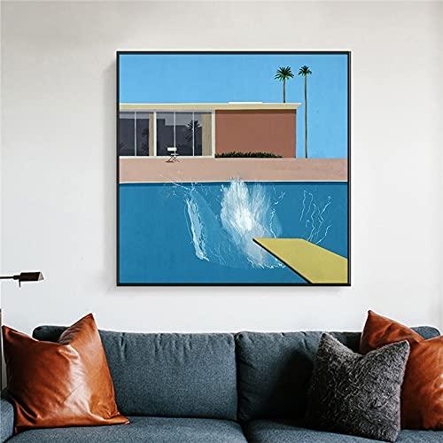 David Hockney Obra de arte abstracta Piscina Salpicadura más grande Salpicadura de agua Lienzo Pintura Póster de pared Impresiones Dormitorio Sala de estar Estudio Oficina Decoración para el
