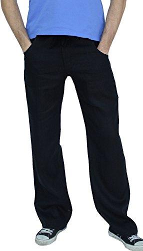 Perano 101-38 Herren Leinen Hose Farbe Schwarz Konfektionsgröße 52 Internationale Größe L schwarz 52/L.