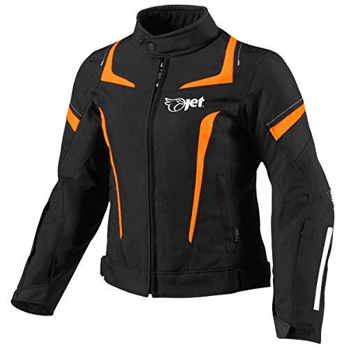 Jet Motorradjacke Damen Mit Protektoren Textil Wasserdicht Winddicht (3XL (EU 46-48), Orange)