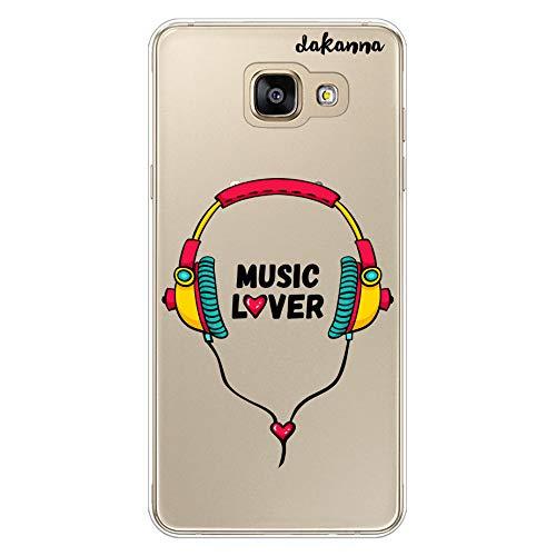 dakanna Funda para Samsung A5 2016   Auriculares con Frase: Music Lover   Carcasa de Gel Silicona Flexible   Fondo Transparente