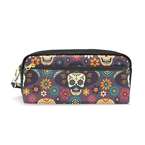 Pen Case Stationary Mexican Style Sugar Skull Flowers Pencil Bags Portable Pouch for School Kids Children Cosmetic Bag Makeup Beauty Case