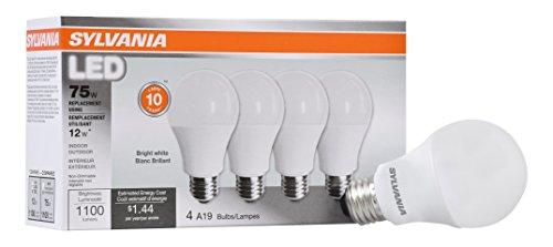 SYLVANIA General Lighting 78099 Sylvania Non-Dimmable Led Light Bulb, 12 W, 120 V, 1100 Lumens, 3500 K, CRI 80, 2.375 in Dia X 4.29 in L, 4-Pack, Bright White, 4 Piece