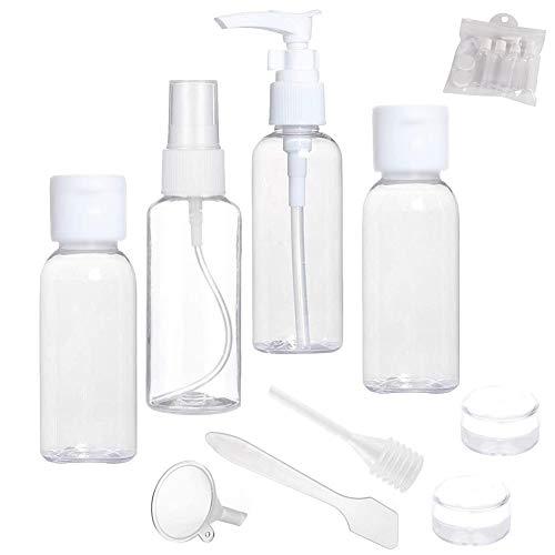 10 Pezzi Bottiglie Set Di Viaggio Trasparente e Contenitori Di Liquido Da Cosmetici,Set Flaconi Per Cosmetici Barattolo Da Viaggio, Contenitore Per Liquidi Trasparente, Con Dispenser