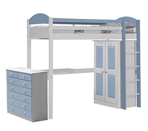 Vicenza Design Maximus High Sleeper, Set da 2, Colore: Bianco e Azzurro
