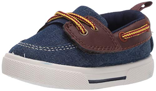 carter's Boys' Cosmo light weight hook and loop casual boat shoe Sneaker, BLUE, 8 M US Big Kid