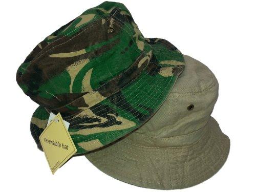 HDUK Summer Hats Adultes rétro 100% Coton Camouflage réversible Seau Chapeau/Disponible en Tailles S (58 cms) Medium (59 cms) et Grande (60 cms) - - L