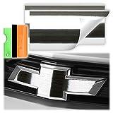 Free Tool Kit 2Pcs 5'x10' Chevy Emblem Bowtie Chrome Silver Brushed Aluminum Vinyl Wrap Sticker Decal Film Overlay Sheet