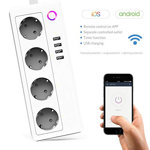LayOPO WiFi Smart Power Strip, Protector de Sobrecarga Compatible con Alexa, Google Home E IFTTT, Enchufe Múltiple Inteligente con 4 Salidas y 4 Puertos USB