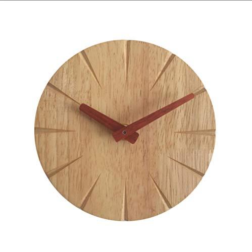 JHLP 15cm massief hout muur klok woonkamer persoonlijkheid eenvoudige moderne klok DIY ultra rustige slaapkamer kleine wandklok