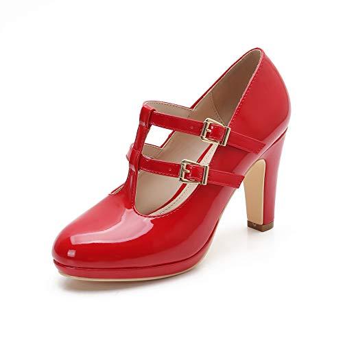 MACKIN J G574-1 Women's Mary Jane Vintage Heels Chunky Platform T-Strap Dress Pumps (8.5,Red)