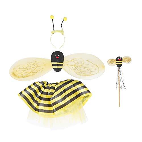 Toyvian 4 Piezas Disfraz de Abeja niña con alas Varita mágica Vestido y Diadema establecen para Carnaval Fiesta