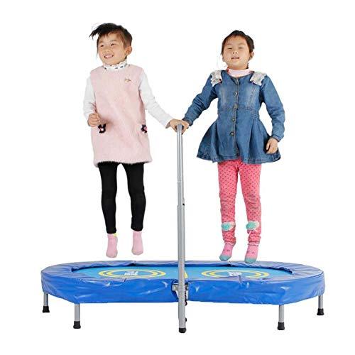 ZCZZ Trampolín para Padres e Hijos para Dos niños, trampolín para niños pequeño trampolín con pasamanos Ajustable y Cubierta Acolchada de Seguridad Mini trampolín Plegable con reboteador elástico