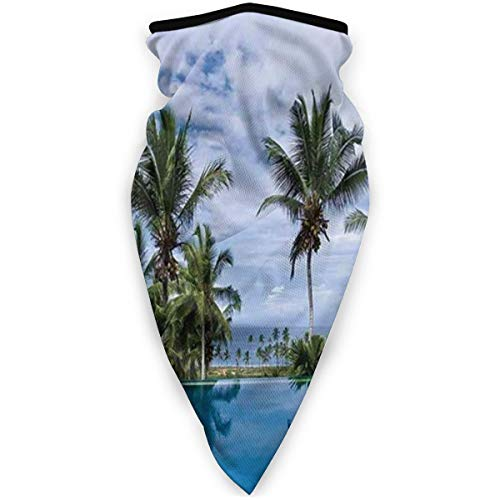 Face Scarf Infinity Pool with Palm Tree Reflections and Crystal Water In Tropical Resort Photo Multifunctional Bandanas