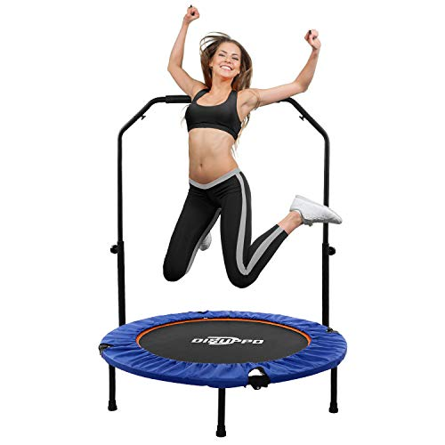 DISUPPO Fitness Trampoline, Mini Rebounder Trampoline, Exercise Trampoline with Adjustable Handrail for Indoor/Outdoor/Garden/Yoga/Exercise/Cardio-Max Load 220lbs