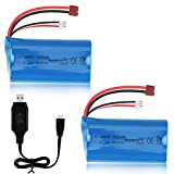 Sirecal 2 Piezas 7.4V 1500mAh Li-Ion Batería con USB Cargador para WLtoys 4WD RC Cars 12403 12401 12402 12404 12428 Repuesto de Repuesto