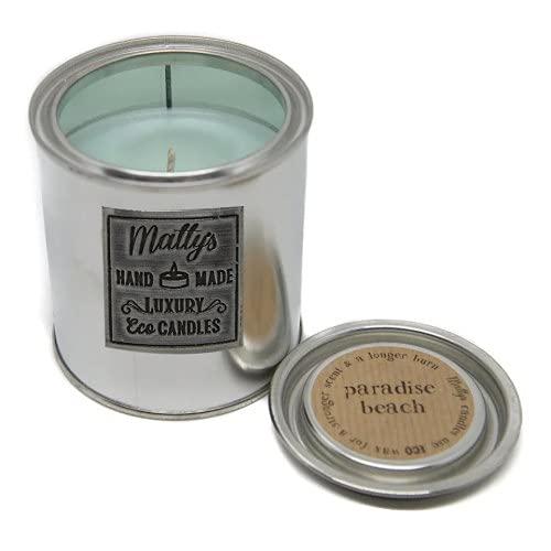 Matty's Candles Paradise Beach - Vela perfumada de coco y colza, embalaje reciclable ecológico, vegano