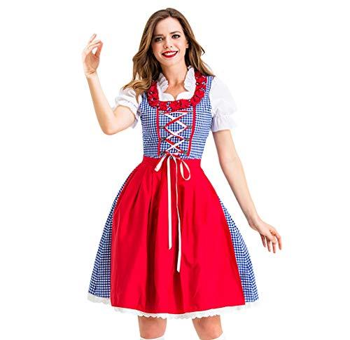 Dirndl Set 2 TLG Midi Trachtenkleid für Oktoberfest Bierfest Gitter Kleid Anzug + Dirndlschürze Sets Traditionelles Midikleid Weihnachten Halloween Cosplay Kostüme Abendkleid (M, rot)